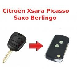 Kit de transformation de Clé Pliable Citroën Xsara Picasso, Saxo, Berlingo, Peugeot Partner, Plip 2 boutons