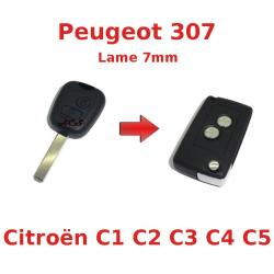 Kit de transformation de Clé Pliable Peugeot 107, Citroen C1, C2, C3