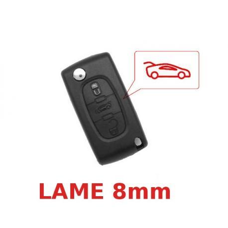 Télécommande coque de clé plip 3 boutons Peugeot 107, 207, CC, SW, 208, 307, 308, 407, Coupé, 4007, Lame 8mm