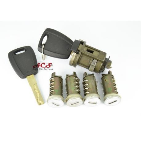 Kit barillet serrure de porte, neiman + 2 clés Fiat Punto, Bravo, Doblo, Stilo, Brava, Panda