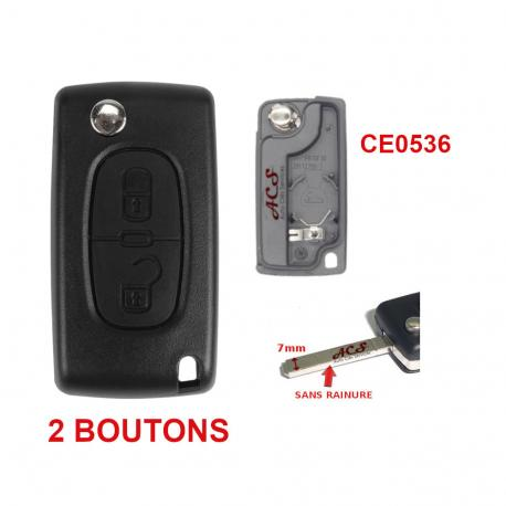 Boitier coque de clé plip 2 boutons Peugeot Partner Citroen Berlingo CE0536